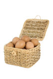 The eggs in the basket. The basket of the chicken eggs basket Stock Images