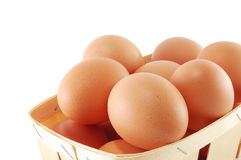 Eggs in a basket close Royalty Free Stock Photos