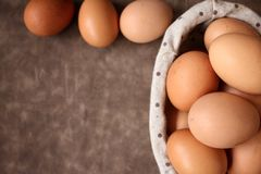 Eggs basket Stock Photos