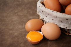 Eggs basket Stock Photo
