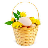Eggs in a basket with dandelions. Eggs in a wicker basket with flowers and leaves of the dandelion with a light shade on white background Royalty Free Stock Image