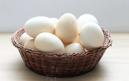 Eggs in a basket. Domestic eggs in a basket stock image