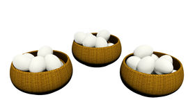 Eggs in many baskets Stock Photo