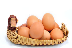 Eggs on basket. Eggs on duck basket and white background stock images