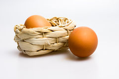 Eggs and basket. Easter eggs and basket on white Stock Image