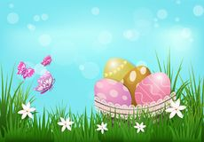 Eggs in the basket and butterflies Easter day background. Eggs in the basket with flower and butterflies Easter day background Royalty Free Stock Photography