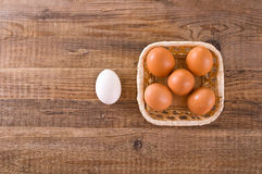 Eggs in the basket. Stock Photo