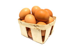 Eggs in a basket isolated on white Royalty Free Stock Photos