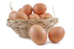 Eggs in basket. Isolated on white background,  file includes a excellent clipping path Stock Images
