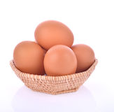 Eggs in basket isolated on white background. Thai Eggs Stock Photo