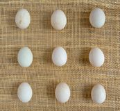 Eggs on the basket mat Stock Photo