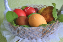 Eggs in a basket with mint royalty free stock images