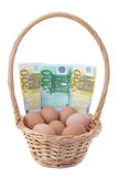 Eggs in a basket with money for Easter. Stock Image