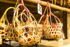 Eggs in the basket. At the  Pai hot springs,Mae Hong Son,Thailand Stock Images