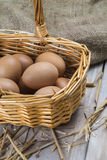 Eggs in a basket. Some fresh chicken brown eggs ready to cooking royalty free stock photo