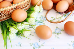 Eggs in the basket. On wallpaper background Stock Image