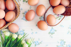 Eggs in the basket. On wallpaper background Stock Photography