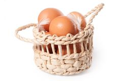 Eggs in the basket on a white Stock Images