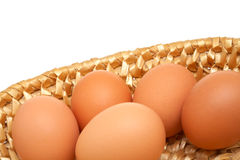 Eggs. In basket with white background stock photography