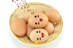 Eggs On Basket Royalty Free Stock Image