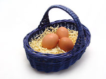 Eggs in the basket on the white background Stock Image