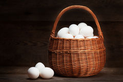Eggs in basket Stock Photo