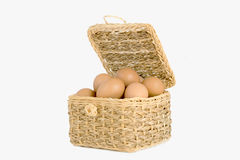 The eggs in the basket. The eggs in the wood basket Royalty Free Stock Image