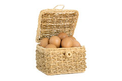 The eggs in the basket. The eggs in the wood basket Royalty Free Stock Images