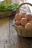 Eggs in the basket Stock Images
