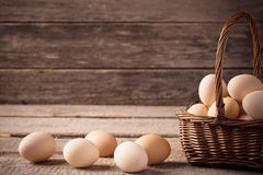 Eggs in basket. On wooden background Royalty Free Stock Photography