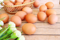 Eggs in the basket. On wooden background Royalty Free Stock Photography