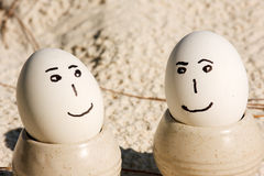 Eggs on the beach royalty free stock photos