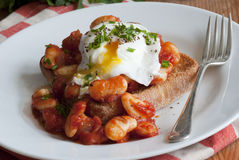Eggs and beans on toast Stock Photo