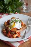 Eggs and beans on toast Stock Images