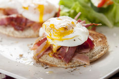 Eggs Benedict. Poached egg on toast, with smoked bacon, and salad stock photos