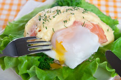 Eggs Benedict with fish Stock Photo