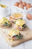 Eggs Benedict with ham & asparagus Royalty Free Stock Image