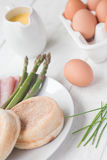 Eggs Benedict with ham & asparagus Royalty Free Stock Photo
