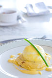 Eggs benedict. High key image of eggs benedict for breakfast Royalty Free Stock Images