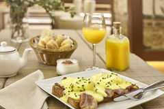 Eggs benedict premium breakfast at the hotel Royalty Free Stock Photo