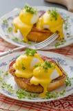 Eggs benedict, prosciutto with hollandaise Stock Photo