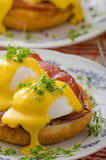 Eggs benedict, prosciutto with hollandaise Royalty Free Stock Images