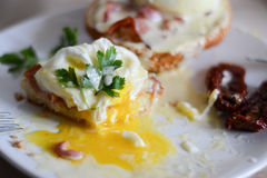Eggs Benedict. A serving of eggs Benedict for breakfast royalty free stock photo