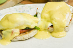Eggs benedict and smoked salmon Stock Images