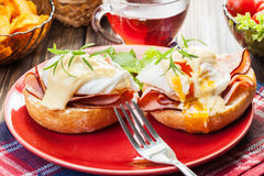 Eggs Benedict on toasted muffins with ham Royalty Free Stock Photo