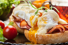 Eggs Benedict on toasted muffins with ham Stock Photography