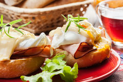 Eggs Benedict on toasted muffins with ham Royalty Free Stock Image