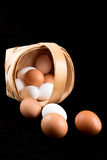 Eggs in a birch bark basket Royalty Free Stock Images