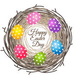 Eggs in bird nest for Easter day greeting card Stock Photography