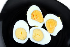 Eggs on black plate Royalty Free Stock Photography